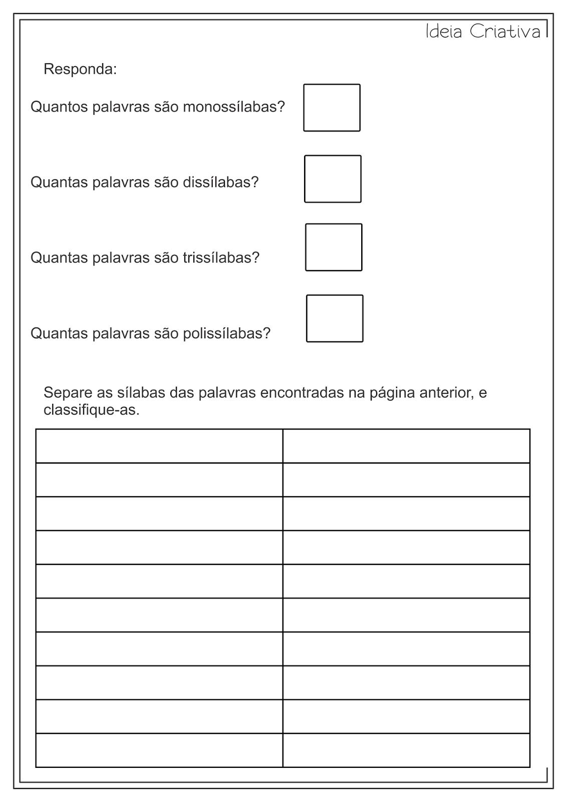 Atividades Educativas Separação e Classificação de Sílabas Língua Portuguesa para Ensino Fundamental