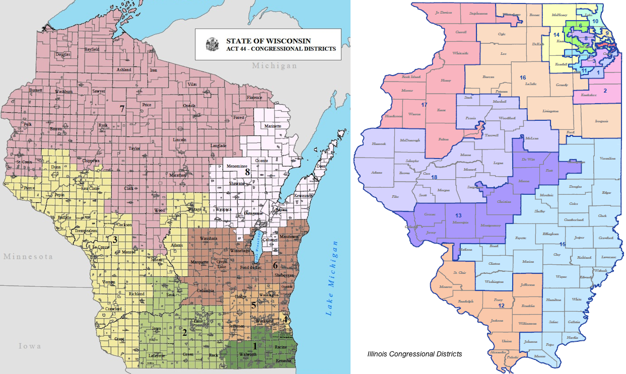 Common Cause Wisconsin Redistricting Reform Proponents Continue - Map of illinois us house of representatives districts