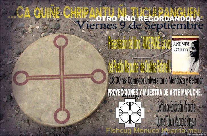 Afiche color de la presentación del libro ¨AIME PAINE¨la voz del Pueblo Mapuche.