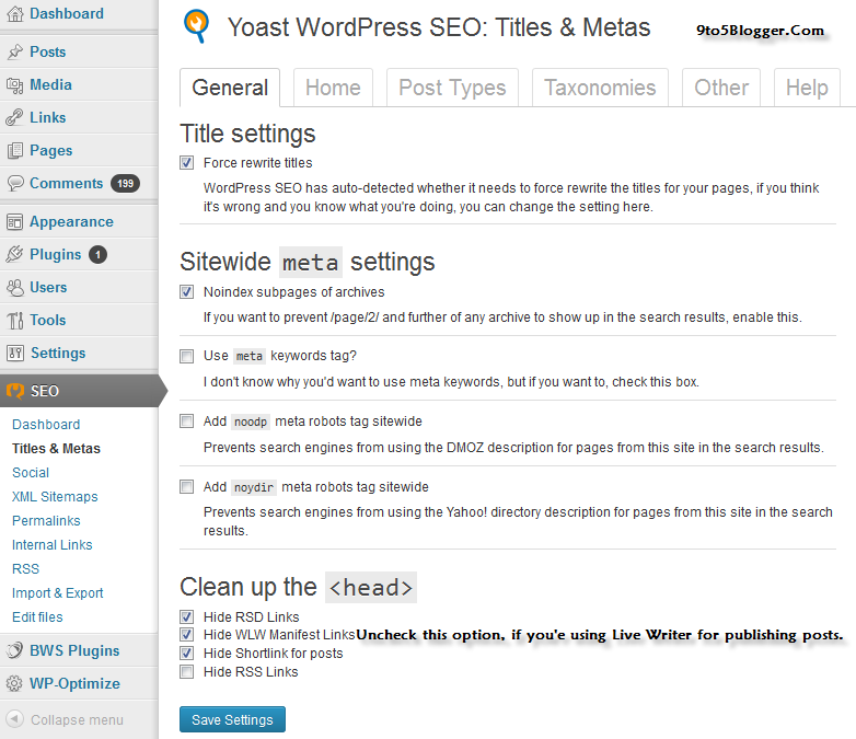 Titles & Meta Settings for WordPresS SEO Plugin