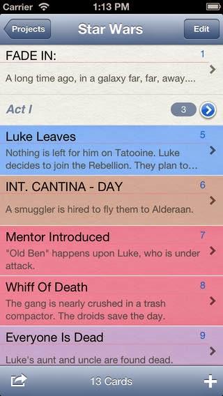 Index Card for iPhone. Bedste apps til forfattere. Projektoverblik