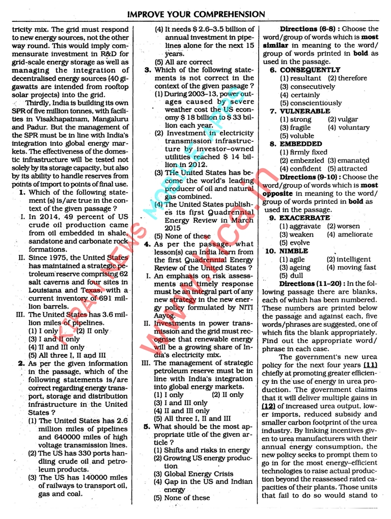 english comprehension for competitive exams pdf