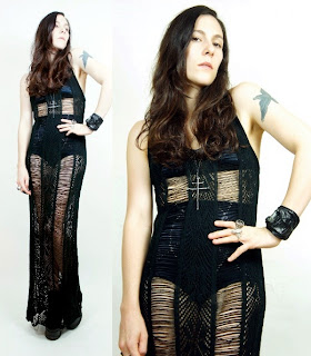 Vintage black sheer loose weave maxi tank dress.