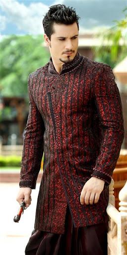 contoh model desain baju dan busana pengantin pria muslim ala india