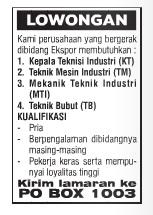 Lowongan Kerja TEKNISI dan MEKANIK Lampung