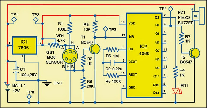 simple sensitive lpg leakage alarm circuit diagram electronic HR Diagram component layout for the pcb