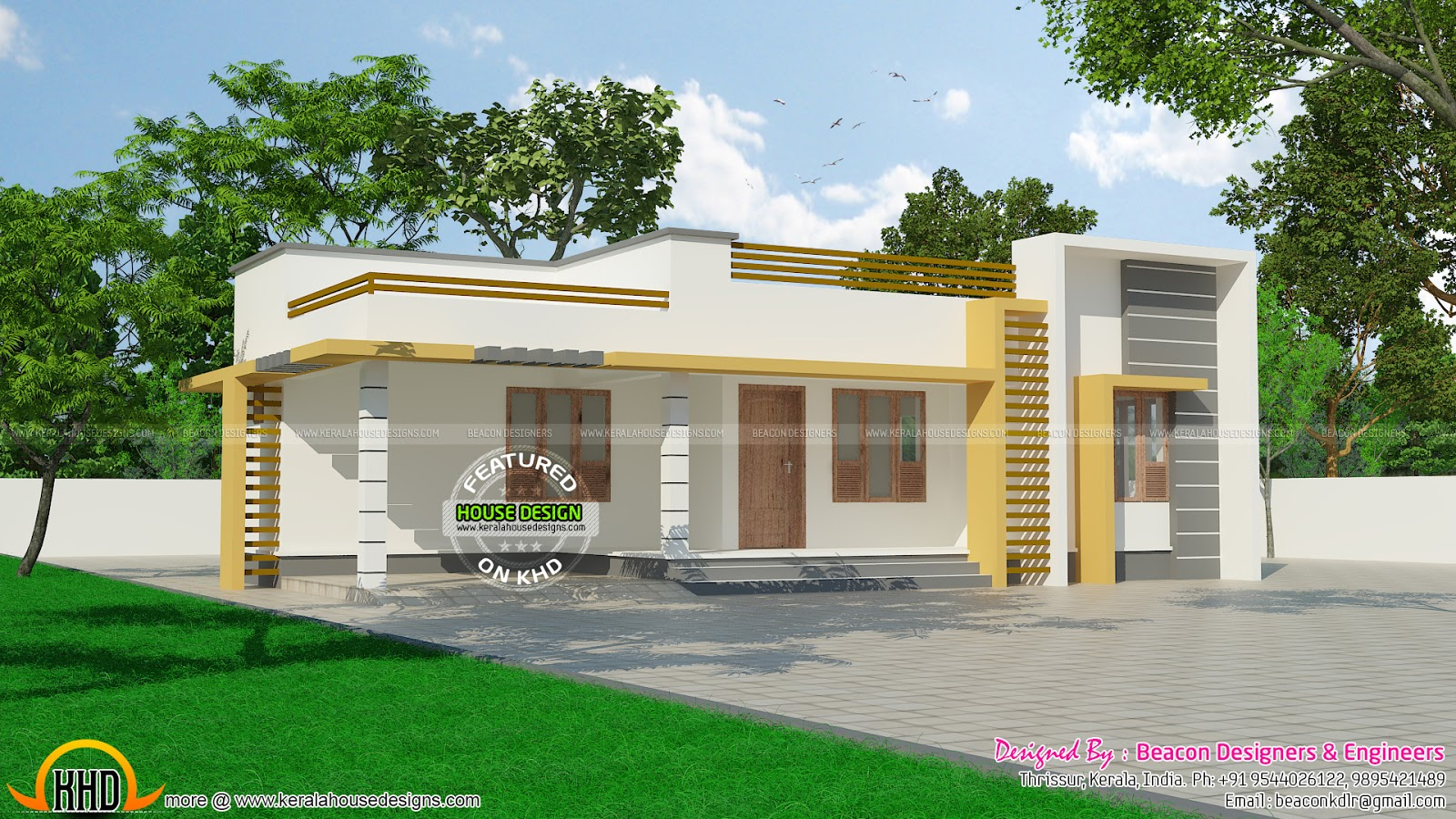 120 sq m small budget kerala home kerala home design and for Single floor house plans kerala style