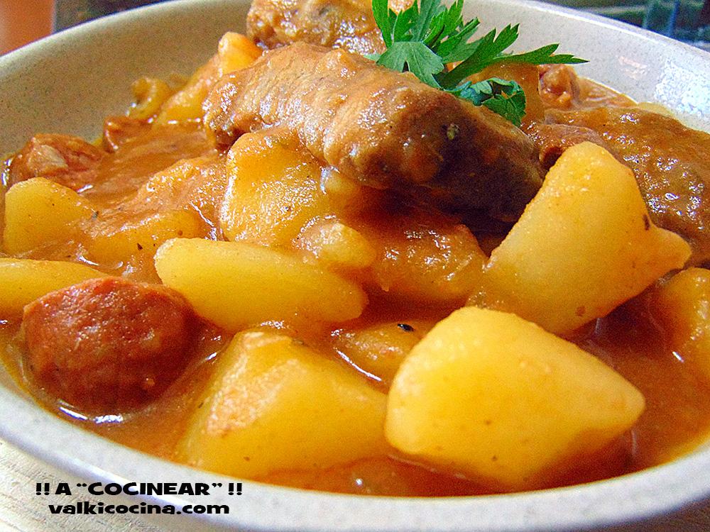 Guiso de patatas con costillas de cerdo y chorizo olla - Guiso de carne de cerdo ...