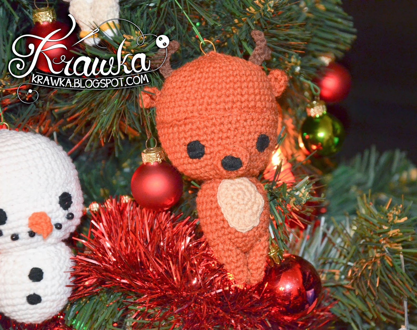 Krawka: Reindeer Christmas tree ornament crochet free pattern