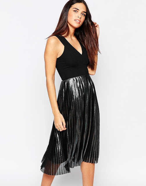 warehouse black dress silver skirt, black top silver skirt dress,