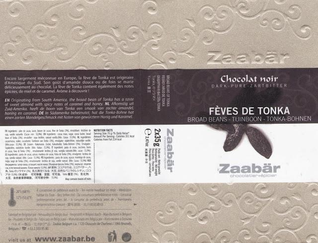 tablette de chocolat noir gourmand zaabär noir fèves de tonka