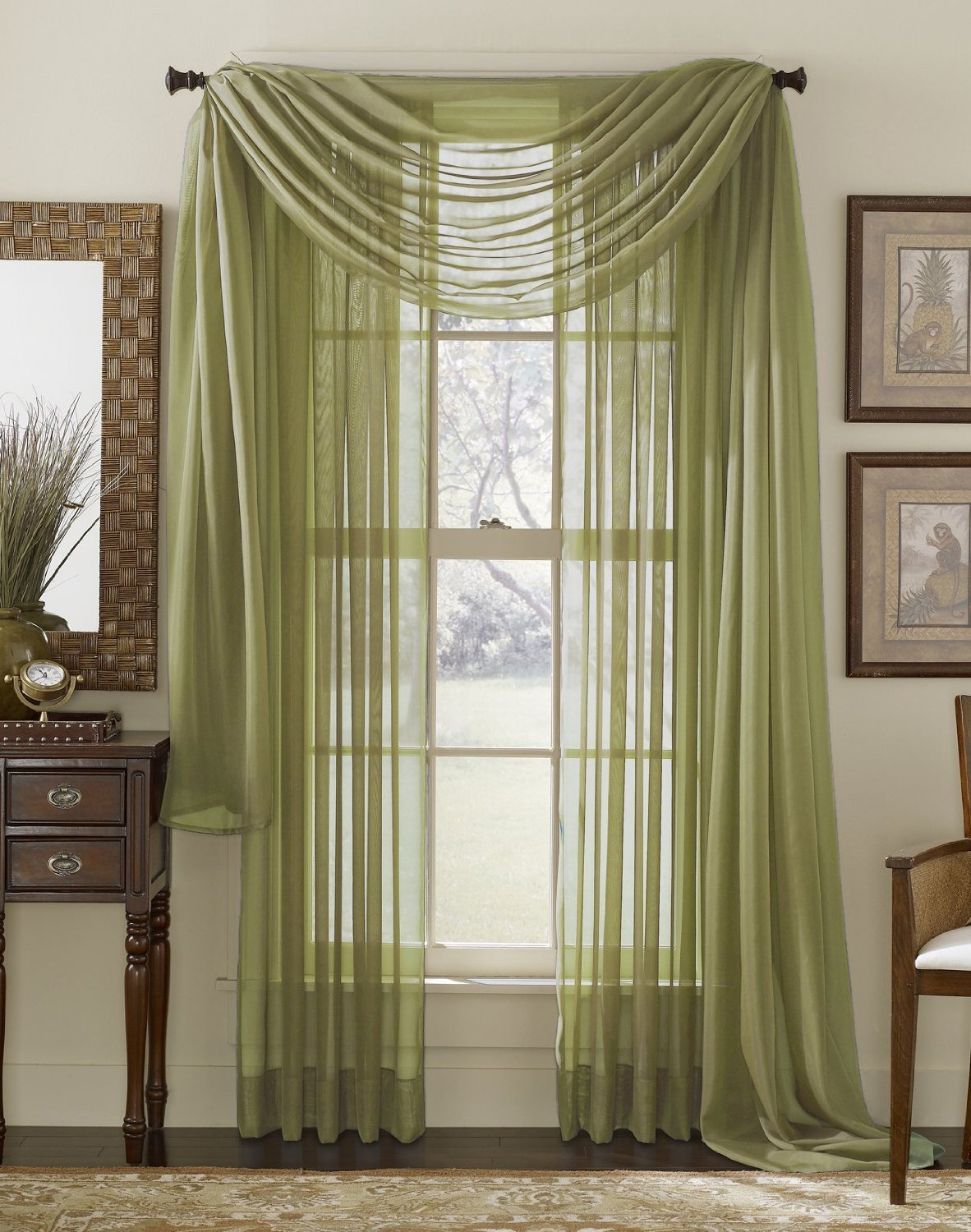 Piece Sage Sheer Voile Curtain Panel Set: 2 Sage Panels and 1 Scarf