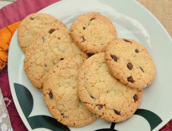 Small batch recipe for Crunchy Chocolate Chip Oat Cookies ~ recipe can easily be doubled or tripled