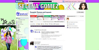facebook skin layout - theme for facebook with Selena Gomez