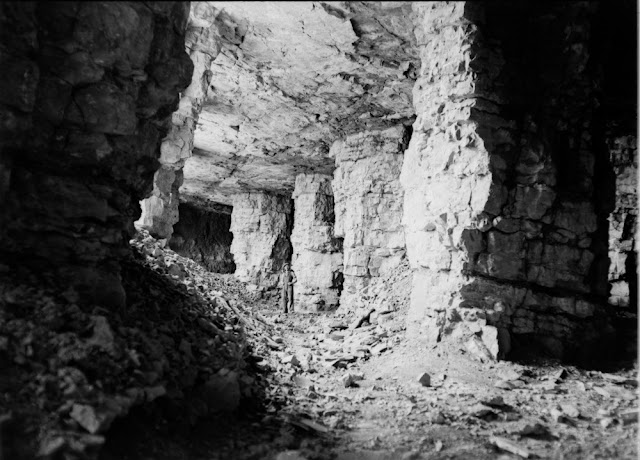 Middleton Quarry and Mine, Gorebridge. Midlothian. Stoop and room (pillar and stall) is an old method of mining where the material, in this case limestone is extracted leaving pillars of limestone in place to support the roof.