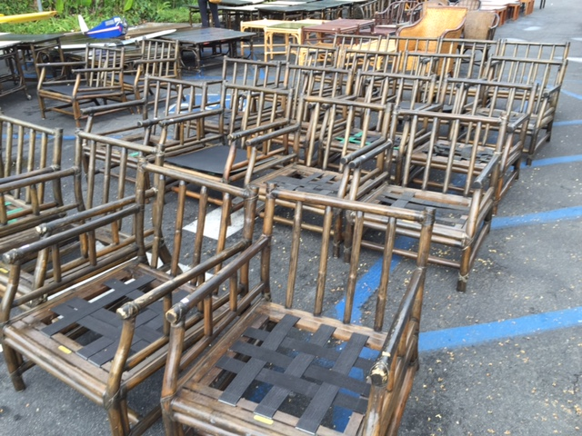 Estate Warehouse Oceanside Ers Liquidators. Pre Owned Vintage Mcguire  Rattan Barrel Chairs Set ...