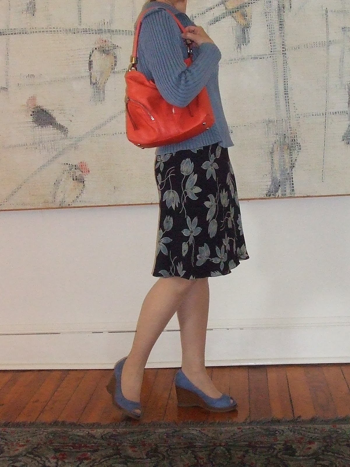 orange handbag for mature women