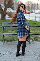Knee High Boots with Plaid Shirt Dress