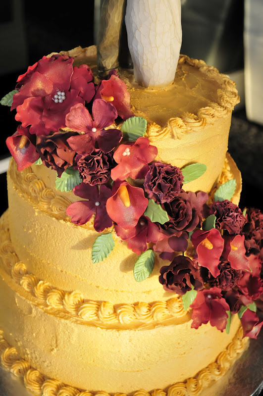 Lindsay\'s Custom Cakes: Stephanie\'s Gold and Burgundy Wedding Cake