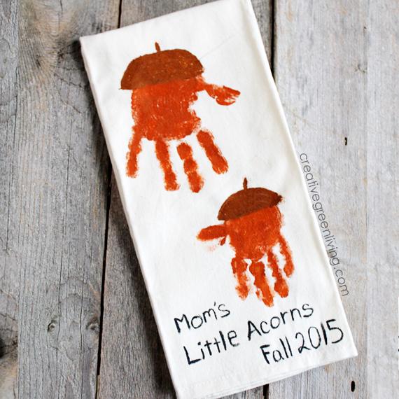 Kids craft make acorn handprint kitchen towels creative green living - Acorn and chestnut crafts ...