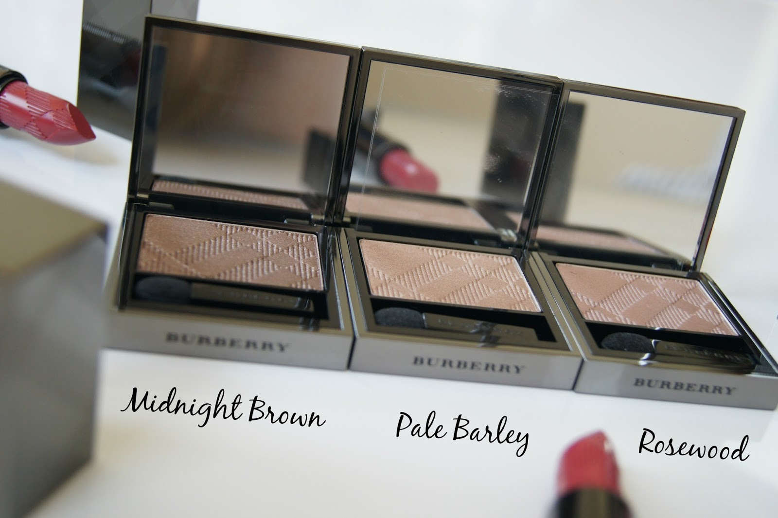 Burberry Sheer Eyeshadow review-Midnight Brown, Pale Barley, Rosewood