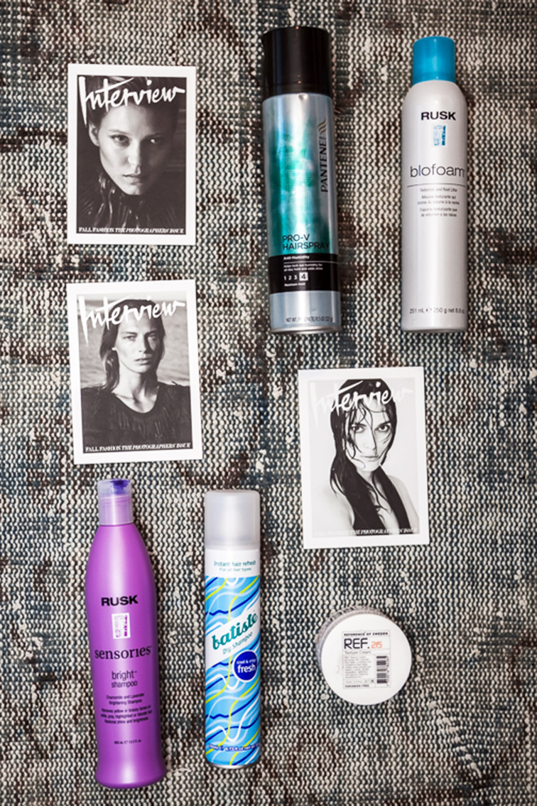 Fashion Over Reason favorite things, hair essentials: Pantene Pro-V hairspray, Rusk biofoam hair mousse, Batiste dry shampoo, Rusk Sensories bright shampoo, Ref 25 hair balm, Interview magazine postcards