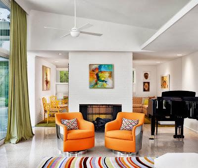 Ruang keluarga Dengan Sentuhan Warna Orange 8
