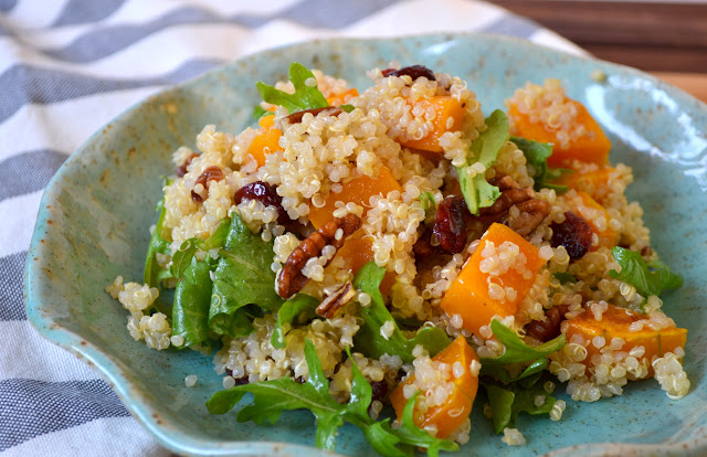 Butternut Squash, Arugula, and Quinoa Salad with Maple Vinaigrette