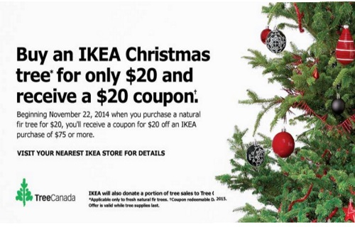 Canadian daily deals ikea buy christmas tree get 20 for Buy ikea voucher online