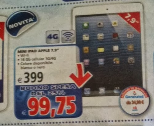60 euro di sconto sul prezzo di listino e bonus spesa del 25% sull'iPad Mini da parte del IL gigante entro il 30 ottobre