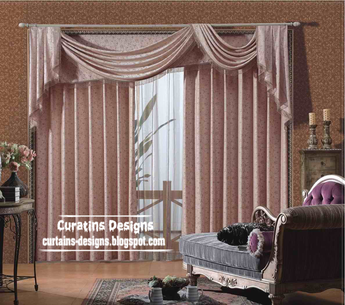 contemporary curtain scarf pink model for bedroom