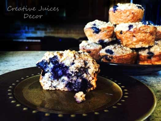 healthy banana blueberry protein muffins