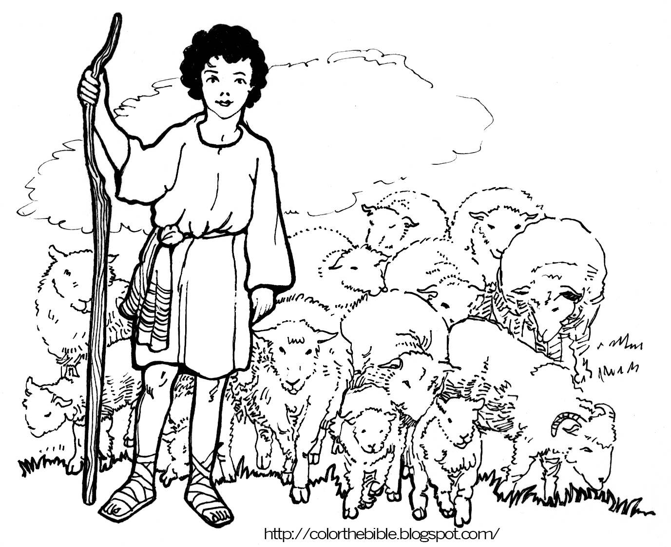 Shepherd boy color the bible for The lord is my shepherd coloring page