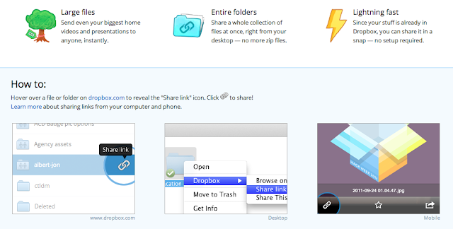 Dropbox links ease of use