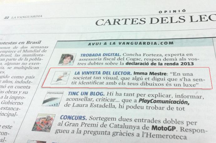 Les vinyetes Del País dels Coixos a La Vanguardia digital ©Imma Mestre per www.delpaisdelscoixos.blogspot.com