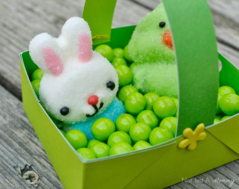 Easter paper baskets filled with Sixlets and bunny