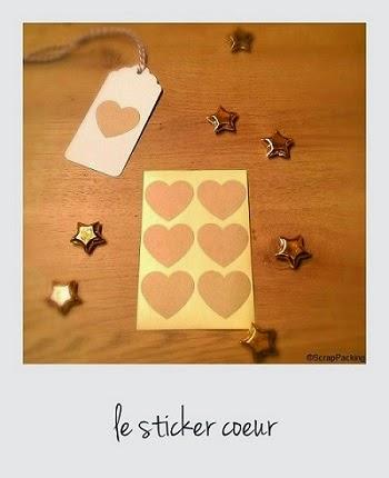 Coeur 6 stickers kraft pour joli cadeau