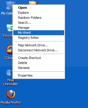 membuka ms word dari klik kanan my computer