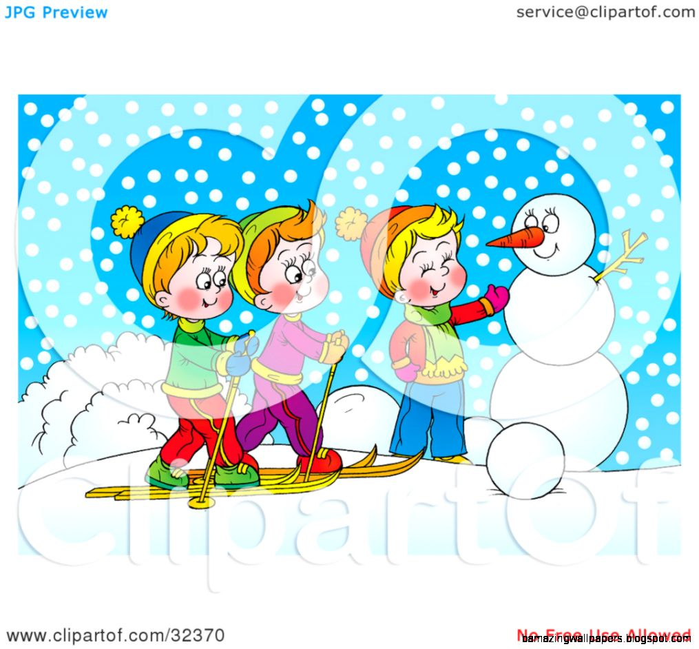 Clipart Illustration of Two Boys Skiing And Chatting With Another