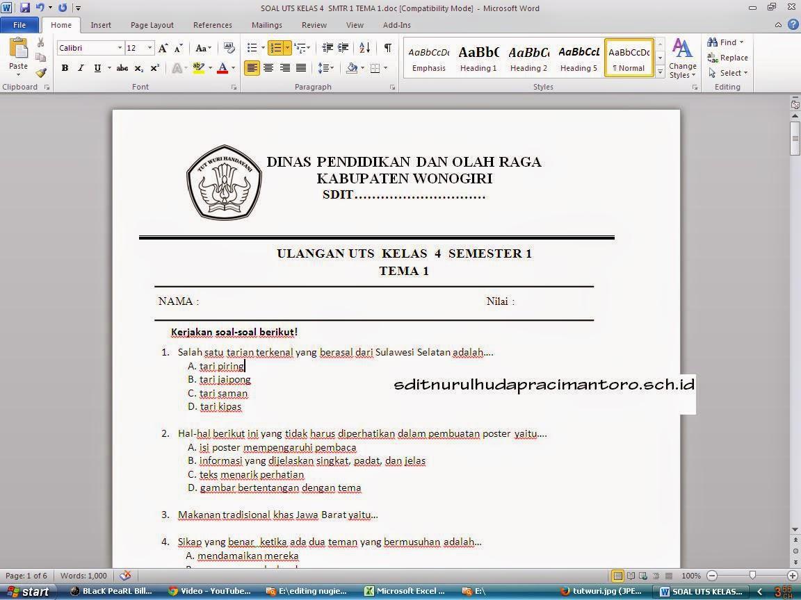 Download Soal Uts Ktsp Dan K 13 Kelas 1 6 Terbaru 2015 Sekolah Dasar Islam