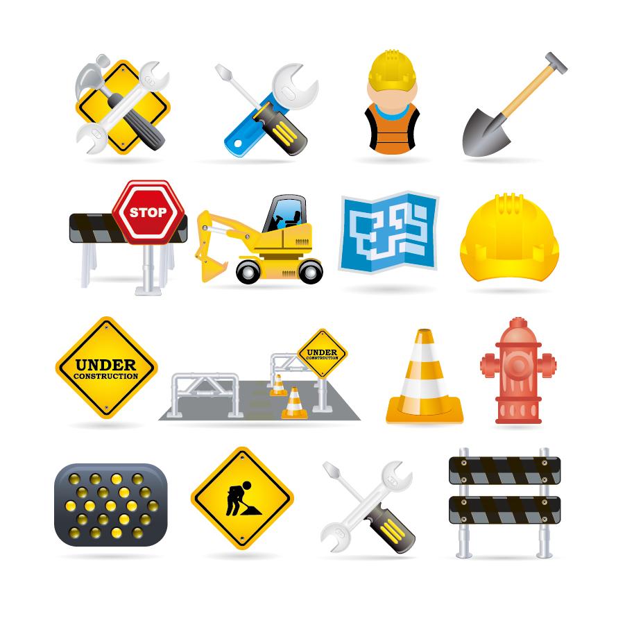 工事現場のクリップアート vector construction traffic icon イラスト素材2