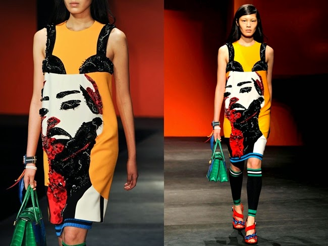 Prada 2014 SS Yellow Shift Dress With Sequin Bra and Pop Art Face