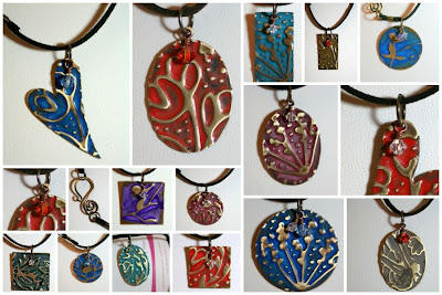 Of Brass and Colours: Vintaj natural brass components, ColorMeThis! patina, swarovski crystals, leather, brass wire, embossed, metal work, wire wrapping, ooak jewelry, ooak necklaces :: All Pretty Things