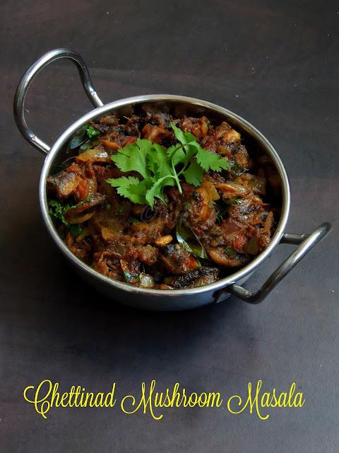Chettinad Mushroom Masala; Kaalan Chettinad, Mushroom Curry