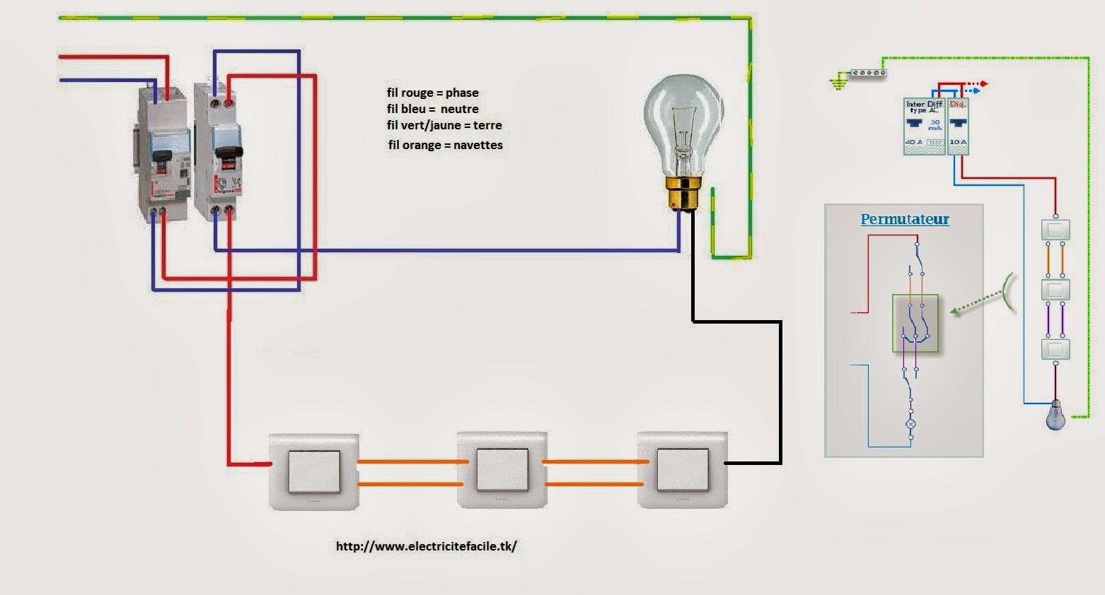 Montage permutateur schema electrique for Cablage vas et viens