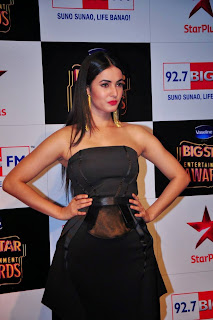Sonal Chauhan Pictures in Black Dress at BIG STAR Entertainment Awards 2014 ~ Celebs Next