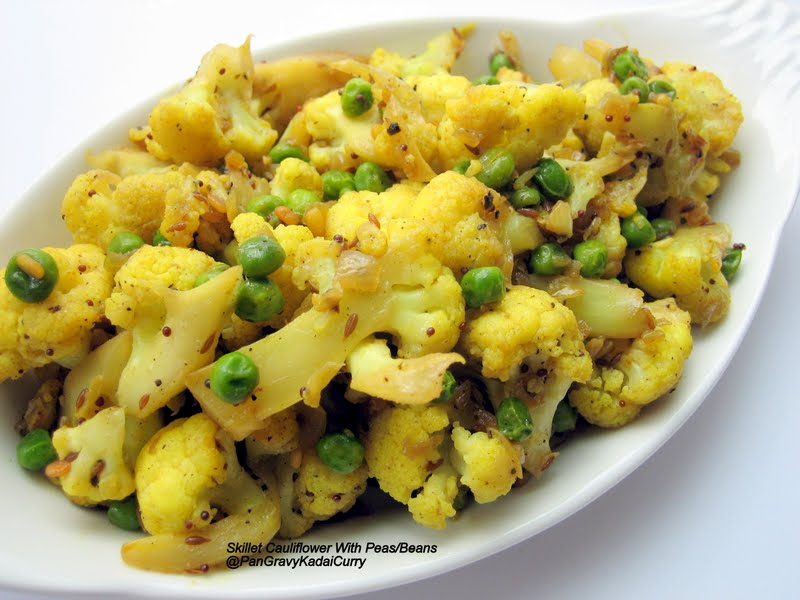 Pan Gravy Kadai CurrySkillet Cauliflower with Peas/Lima Beans