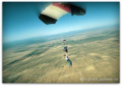 Не совсем удачный прыжок с парашютом