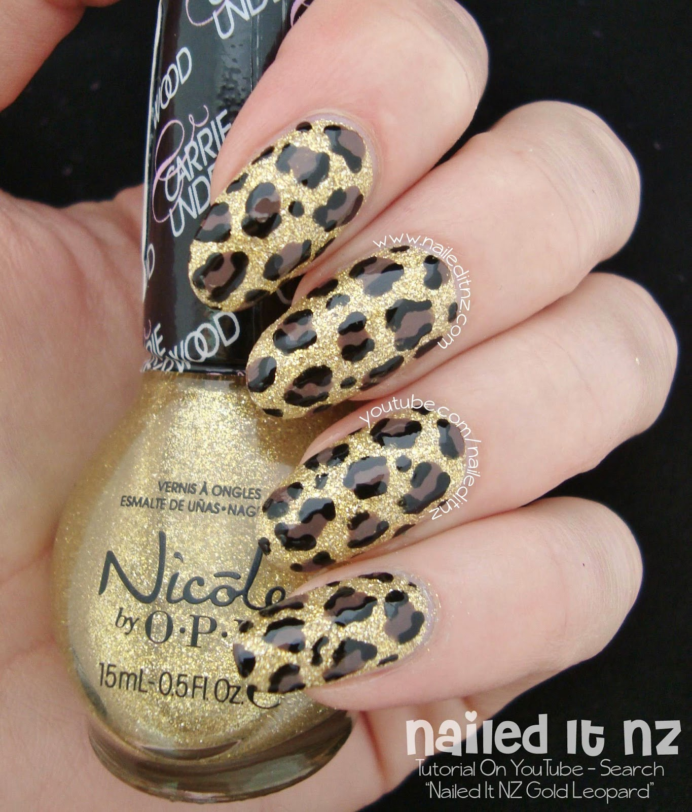 Gold Leopard Print Nail Art Tutorial On Youtube