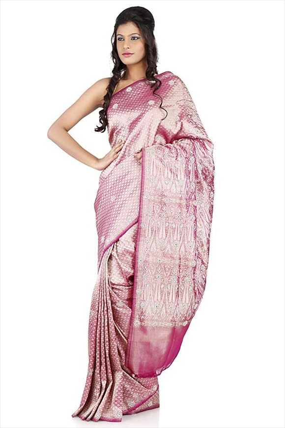 Deep Orchid Satin Banarasi Saree